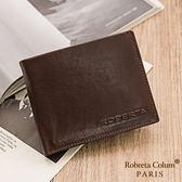Roberta Colum - 魅力無限牛皮款4卡3照可拆式上下翻短夾-深咖