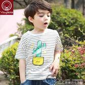 男寶寶短袖t恤童裝男童純棉 兒童T恤薄款條紋上衣 居樂坊生活館