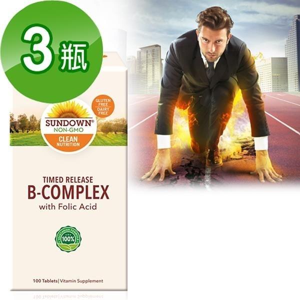 【南紡購物中心】《Sundown》緩釋型超級B群+C錠(B12加強配方)(100錠/瓶) 三入