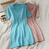 針織洋裝 簡約百搭純色緊身翻領高腰包臀連衣裙女夏裝豎條紋修身顯瘦針織裙 歐歐