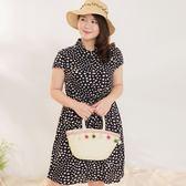 Poly Lulu 小愛心印花修身設計襯衫式洋裝-深藍【92310199】