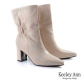 ★2019秋冬★Keeley Ann極簡魅力 全真皮柔軟粗跟短堆靴(杏色) -Ann系列