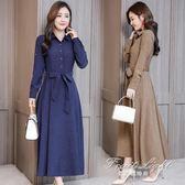 女裝韓版收腰顯瘦媽媽優雅氣質時尚長袖棉麻洋裝女 果果精品