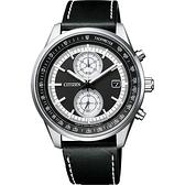 CITIZEN 星辰 光動能紳士計時手錶-黑皮帶/41mm CA7030-11E