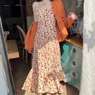 洋裝 女春季秋2021新款初戀系法式復古設計感魚尾長裙子【618特惠】