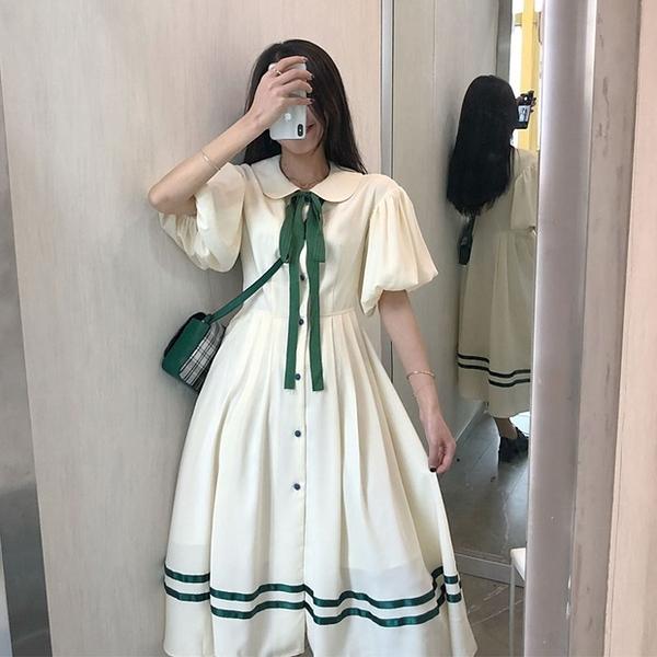 連身裙超仙女森繫中長裙學生閨蜜裝裙子夏季過膝可愛日繫禮服仙氣 伊蘿