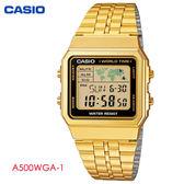 CASIO 復古金黑框方形多功能電子錶 A500WGA-1 復古金錶 不鏽鋼帶 公司貨   名人鐘錶