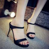 高跟拖鞋 細跟高跟涼拖鞋女夏新款時尚外穿性感一字拖黑色絨面涼鞋【店慶滿月限時八折】
