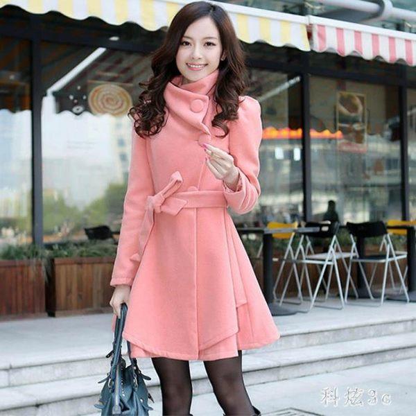 中大尺碼女裝毛呢外套女中長款修身長袖韓版氣質純色呢子大衣 js10340『科炫3C』