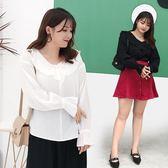 中大尺碼女裝夏季胖mm新款上衣寬鬆荷葉邊減齡前后兩穿長袖襯衫【711】
