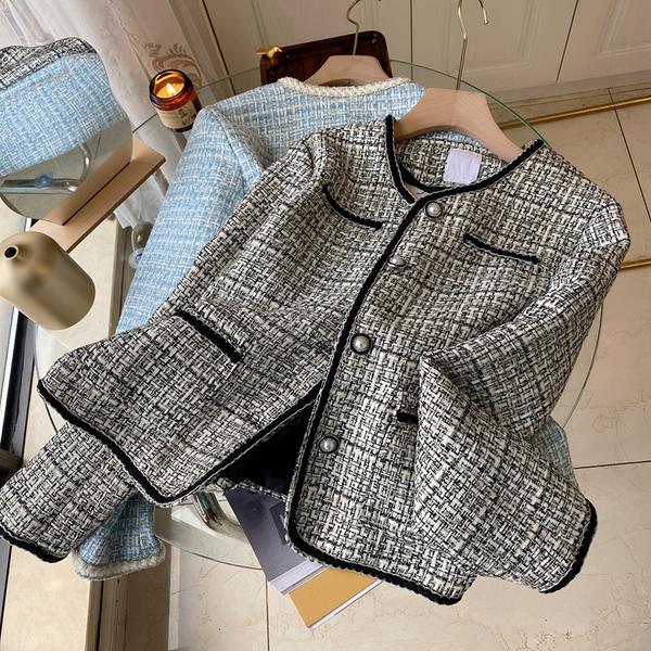 外套 长袖 百搭外套法式小香名媛風短外套女時尚氣質百搭寬松金屬扣上身NE68-A1 胖妞衣櫥