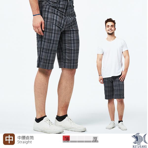 【NST Jeans】英倫復古灰格紋 吸濕排汗休閒短褲(中腰) 390(9496) 男 大尺碼 台灣製