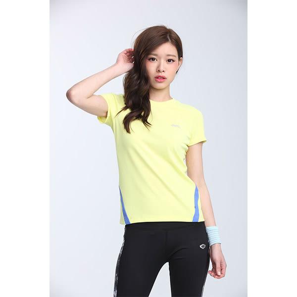 TOP GIRL 簡約線條剪接圓領吸排T恤-黃