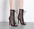 歐美新款 涼靴女夏羅馬魚嘴中短筒靴子夏季...