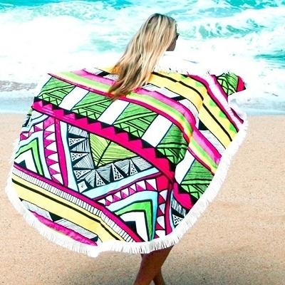 防曬披肩-流蘇多彩時尚自然多用途戶外沙灘巾73mu40【時尚巴黎】