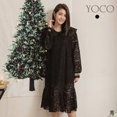 東京著衣【YOCO】美人話題蕾絲細緻雙層領魚尾長裙(191925)