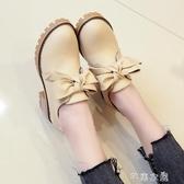 小皮鞋新款高跟一腳蹬小皮鞋女英倫風百搭粗跟中跟蝴蝶結單鞋女 七夕禮物