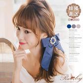 髮飾 韓國直送花圈造型水鑽蝴蝶結彈簧髮夾-Ruby s 露比午茶