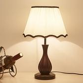 檯燈臥室床頭 現代新中式木質復古美式遙控調光led結婚房裝飾檯燈  【夏日新品】