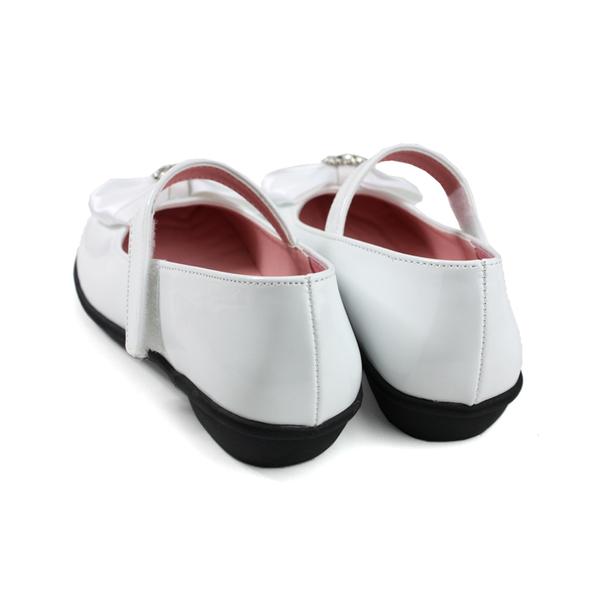 KING CHILDED 小女生鞋 娃娃鞋 蝴蝶結 白色 童鞋 no192