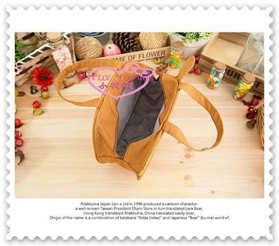 小花花日本精品♥ Rilakkuma 拉拉熊 懶懶熊 臉頭造型 立體 手提袋 便當袋 造型袋 56860603
