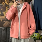 粉色連帽T恤男連帽港風秋季潮流百搭寬鬆慵懶風休閒帥氣情侶開衫外套 雙十二全館免運
