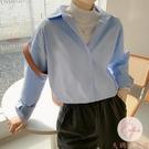 淺藍色襯衫女寬鬆韓版學生POLO領百搭休閒春上衣長袖【大碼百分百】