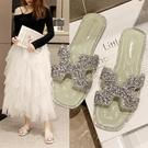 涼拖鞋女外穿2021新款夏季仙女風百搭水鑚亮片一字拖時尚網紅超火 蘿莉新品