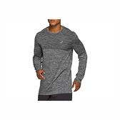 Asics [2011A782-001] 男 無縫長袖上衣 長袖T恤 運動上衣 反光 休閒 圓領 亞瑟士 麻灰