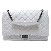 CHANEL 香奈兒 灰白色牛皮2.55方釦鍊條肩背包 Reissue Chain Flap Bag 【BRAND OFF】