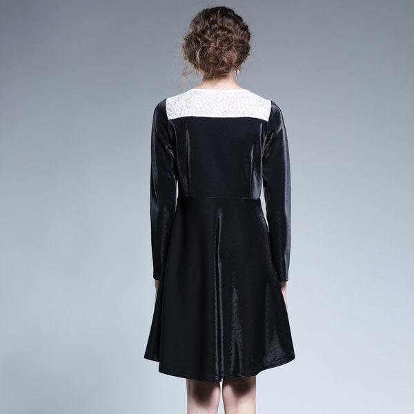 中大尺碼~圓領簡約袖口長袖洋裝(L~5XL)