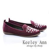 ★零碼出清★Keeley Ann 素雅舒適~壓克力寶石造型平底樂福鞋(酒紅色)-ANGEL系列