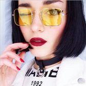 現貨-新款復古小方框太陽鏡 男女歐美潮流墨鏡透明海洋片太陽眼鏡 黃色/透明粉/灰色 217