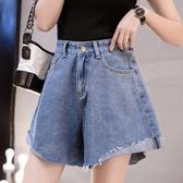 牛仔短褲女S-5XL學生韓版春夏大碼女裝200斤胖mm高腰熱褲3821F039-B依佳衣
