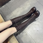長靴搭配套裝新款不過膝騎士靴新款復古繫帶中筒靴潮ins女靴 【全館免運】