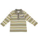【愛的世界】小浣熊橫條紋長袖POLO衫/8歲-台灣製- ---秋冬上著