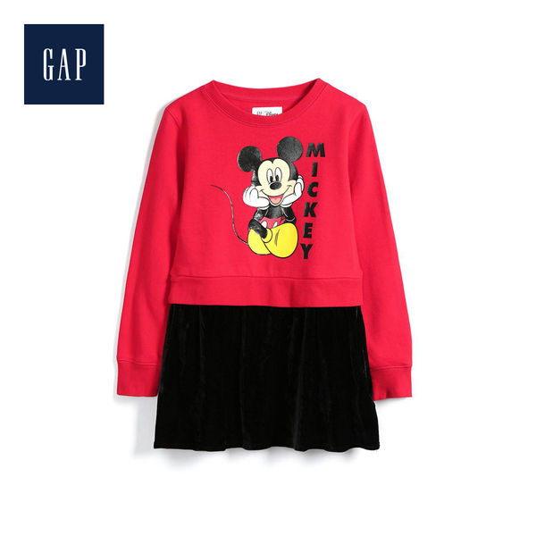 Gap女童 Disney迪士尼系列圓領長袖洋裝528229-正紅色