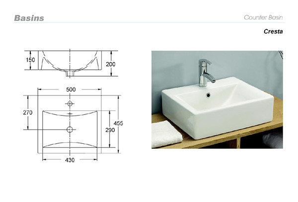 【麗室衛浴】英國陶瓷-IMPERIAL品牌  Imperial ware   方形檯上盆 130851  (現貨供應)