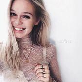 蕾絲 歐美性感百搭透明蕾絲薄紗透視內搭網紗打底衫女長袖鏤空罩衫上衣 鹿角巷