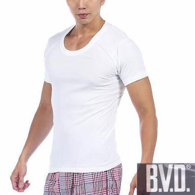 BVD 時尚舒適型男純棉U領羅紋短袖內衣~6件組