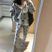 點點 運動 套裝 加厚 運動 休閒 連帽 外套 長褲 長袖 T 寬鬆 彈性 棉 顯瘦 韓國 NXS