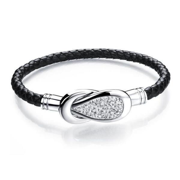 EDJ銀飾店-編織鑲鋯皮質手鍊(5785)
