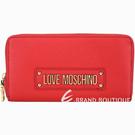 LOVE MOSCHINO 字母標誌荔紋牛皮拉鍊長夾(紅色) 1940338-54