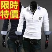 POLO衫 長袖男上衣-優雅品味造型質感純棉質2色59x17【巴黎精品】