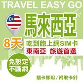 【TEL25】馬來西亞上網卡 8日 4G上網不斷網 吃到飽上網SIM卡