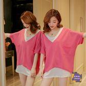 大尺碼上衣 夏季新款韓版寬鬆純色體恤短袖中長款t恤女v領上衣蝙蝠衫兩件套裝 6色M-XL
