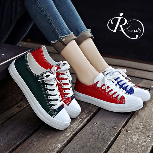 韓系街頭撞色款平底帆布鞋/2色/35-39碼 (RX0031-CH-J18) iRurus 路絲時尚