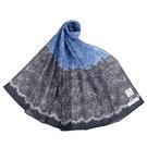 NINA RICCI蕾絲花卉抗UV純綿薄圍巾(深藍色)989403-D