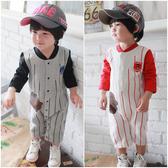 長袖連身衣 加厚 假二件 棒球 男寶寶 前開扣 爬服 哈衣 Augelute Baby 37012