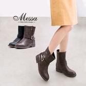 【Messa米莎專櫃女鞋】復古率性側金屬繞環拉鍊低跟短靴-兩色